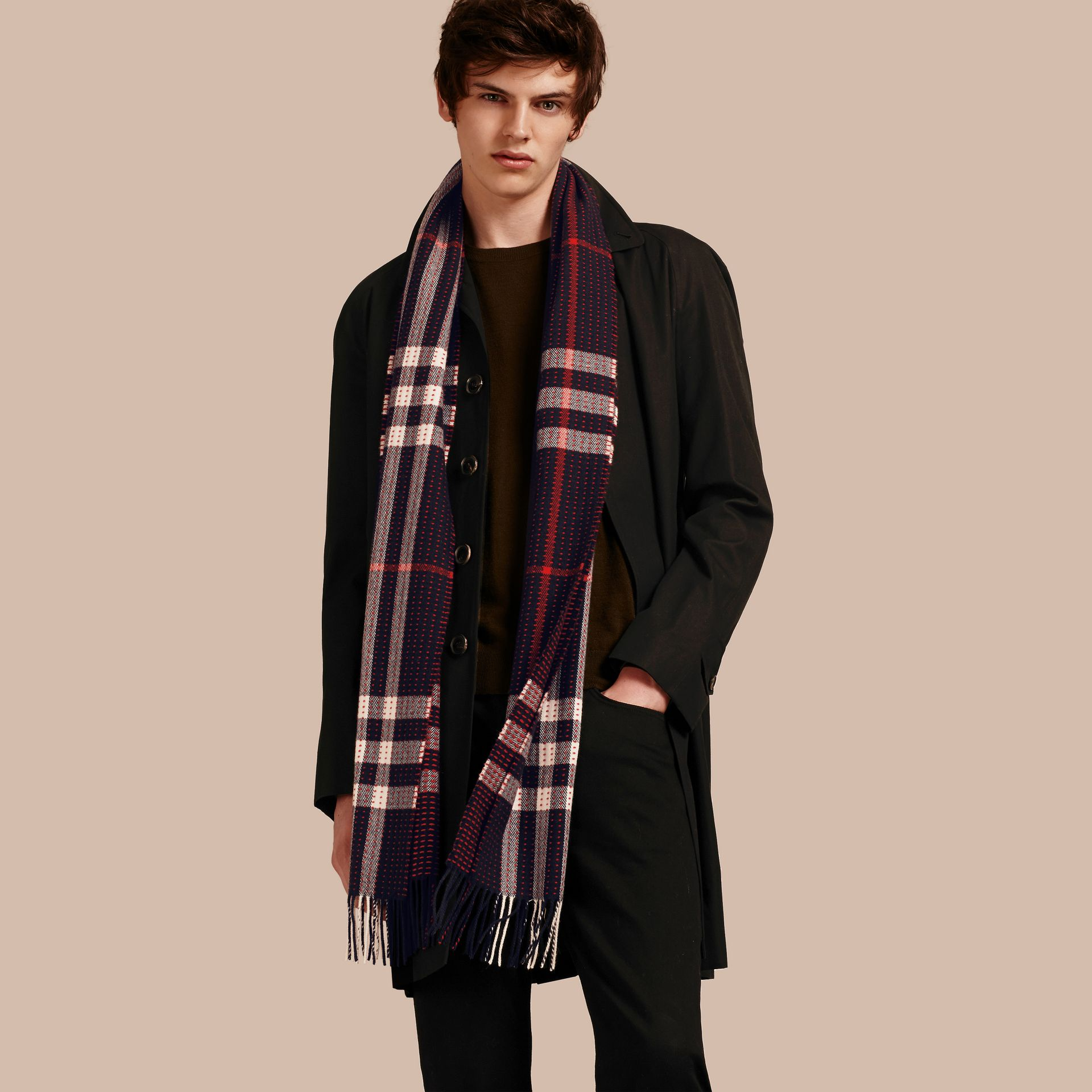 Navy check The Classic Cashmere Scarf in Check with Topstitch Detail Navy - gallery image 4