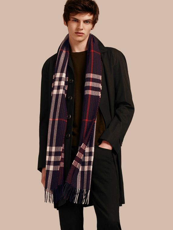 Navy check The Classic Cashmere Scarf in Check with Topstitch Detail Navy - cell image 3