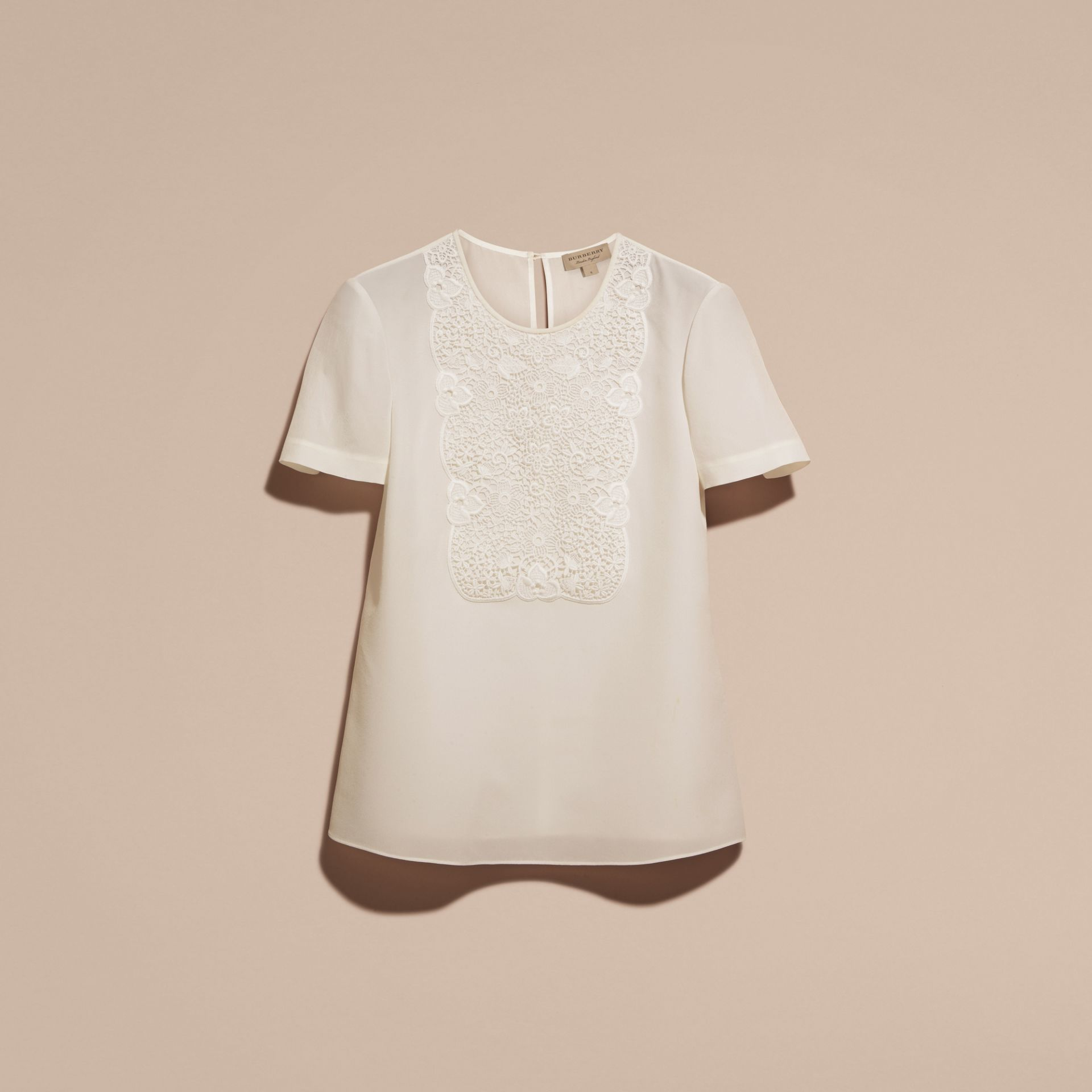 White Lace Panel Silk Top White - gallery image 4