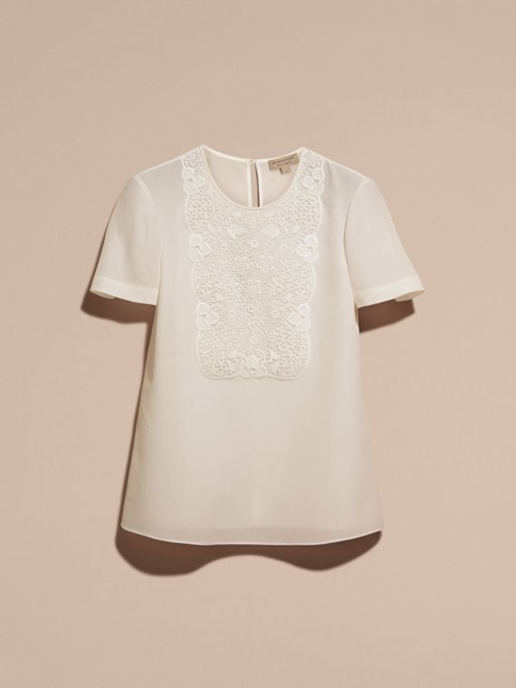 White Lace Panel Silk Top White - cell image 3
