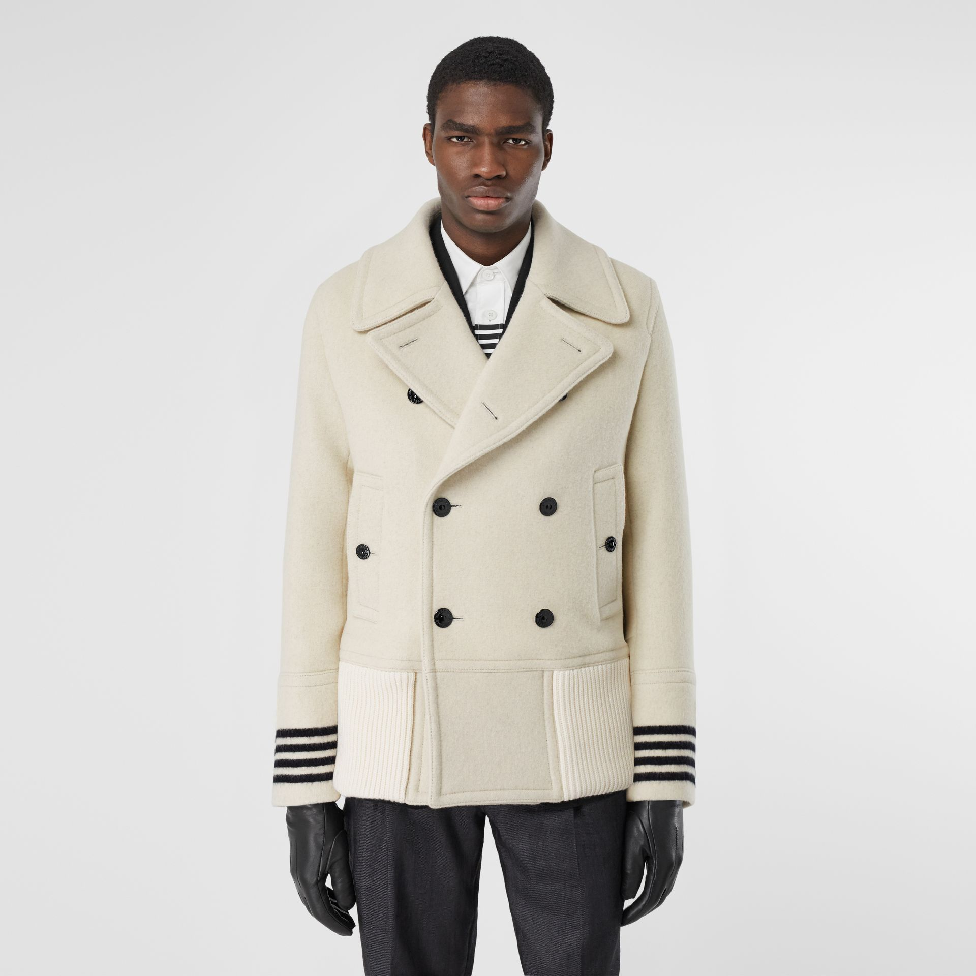 Striped Cuff Wool Pea Coat in White - Men | Burberry - gallery image 5