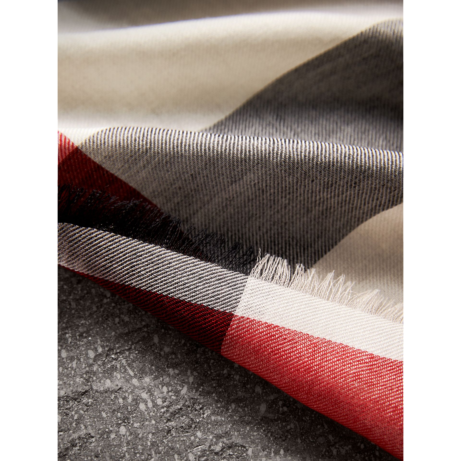 Lightweight Check Cashmere Scarf in Stone - Women | Burberry - gallery image 2