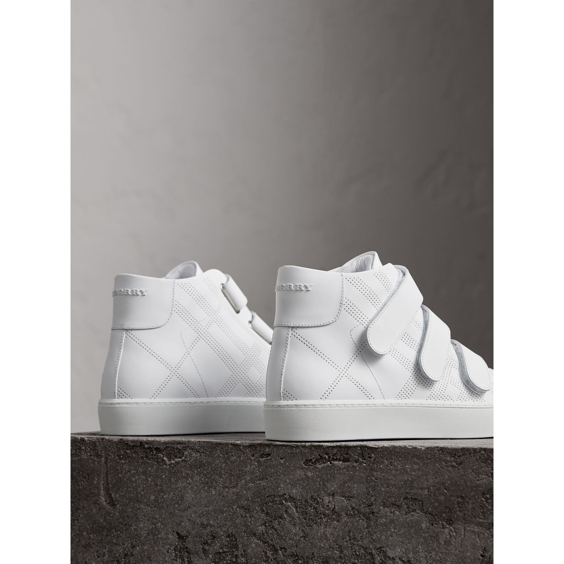 Perforated Check Leather High-top Trainers in Optic White - Women | Burberry - gallery image 3