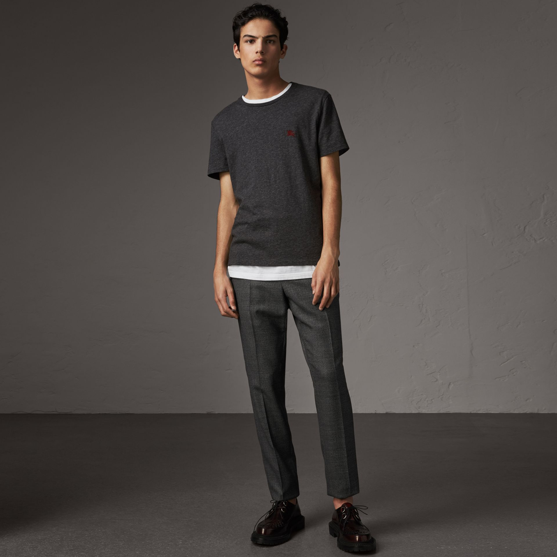 Cotton Jersey T-shirt in Dark Grey Melange - Men | Burberry - gallery image 1