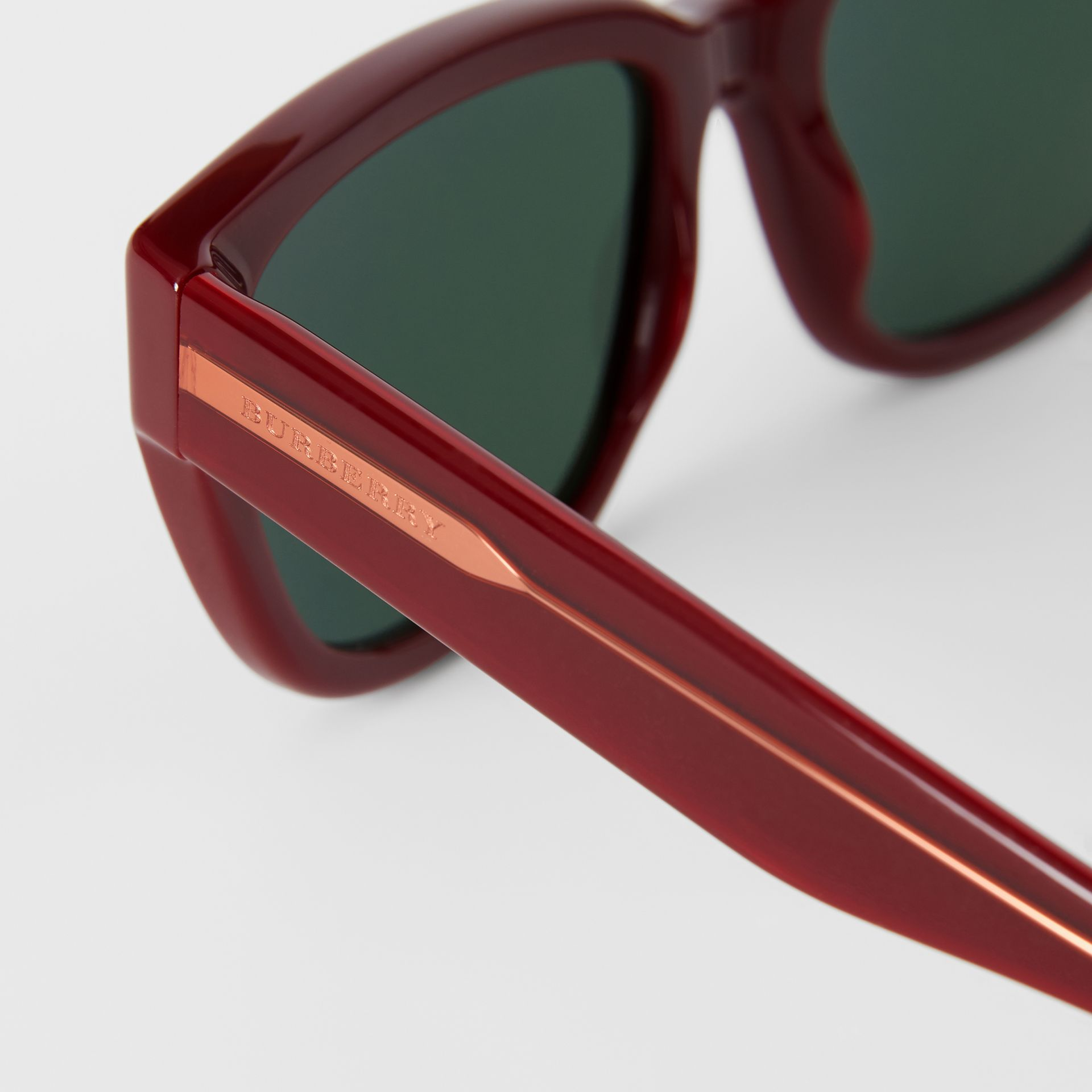 Square Frame Sunglasses in Burgundy - Women | Burberry Australia - gallery image 1