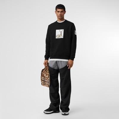 deer-print-cotton-sweatshirt by burberry
