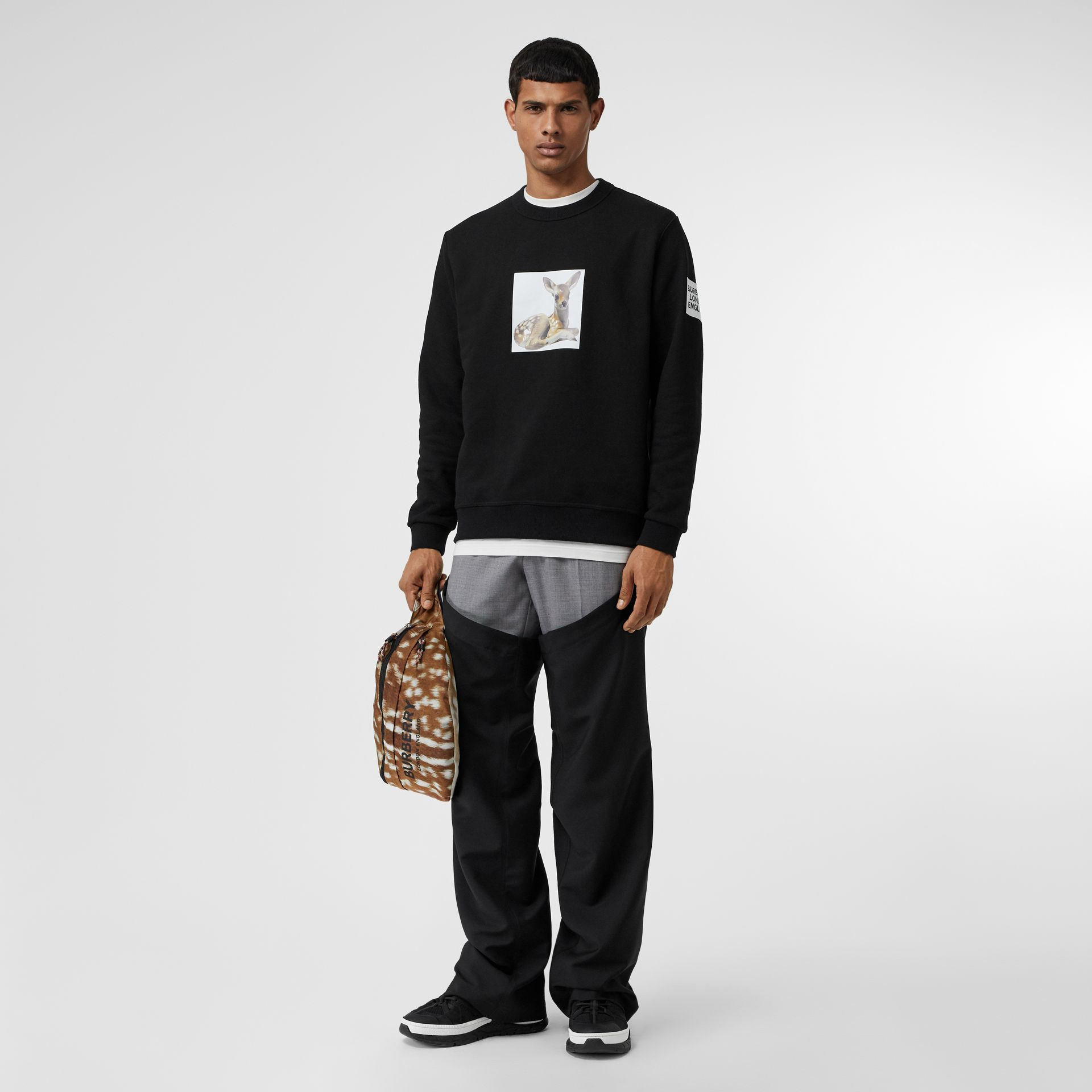 Deer Print Cotton Sweatshirt in Black - Men | Burberry - gallery image 0