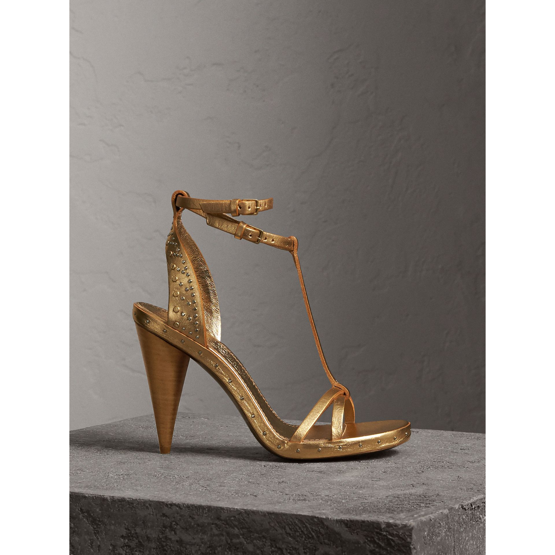 Riveted Metallic Leather Cone-heel Sandals in Gold | Burberry - gallery image 1