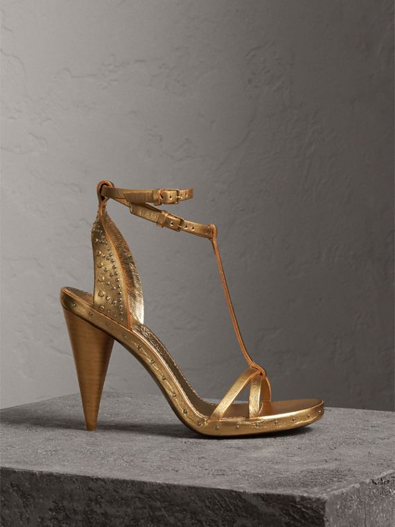 Riveted Metallic Leather Cone-heel Sandals in Gold