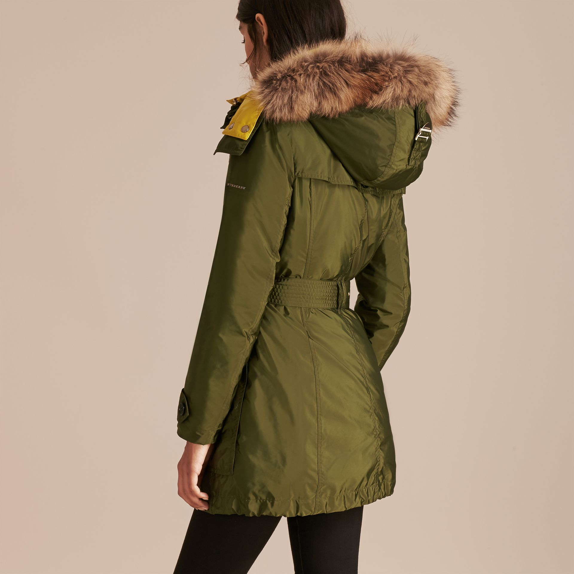 Fur-trimmed Parka with Detachable Down-filled Jacket Bright Moss Green - gallery image 7