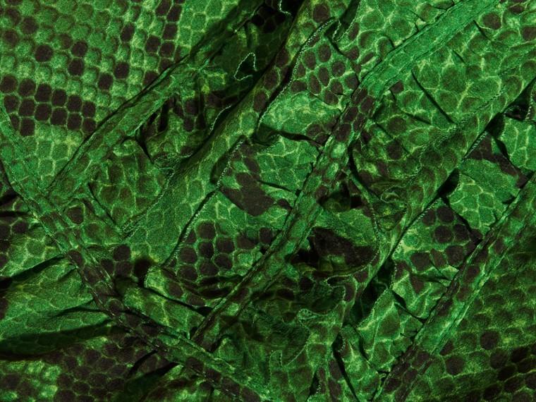 Bright green Python Print Ruffle-bib Silk Dress - cell image 1