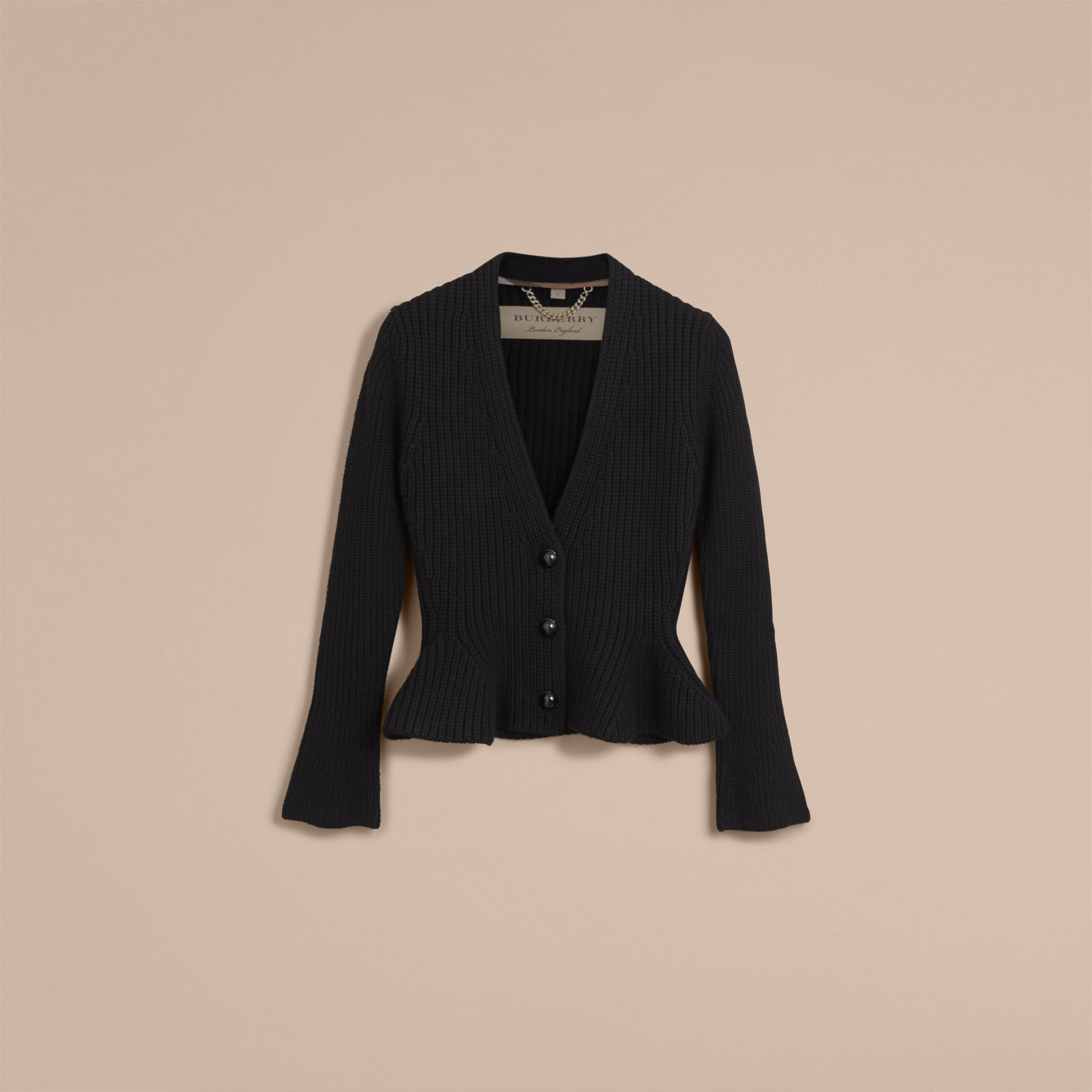 Knitted Wool Cashmere Blend Peplum Jacket in Black - Women | Burberry - gallery image 4