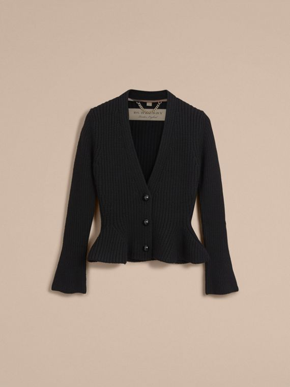 Knitted Wool Cashmere Blend Peplum Jacket in Black - Women | Burberry - cell image 3