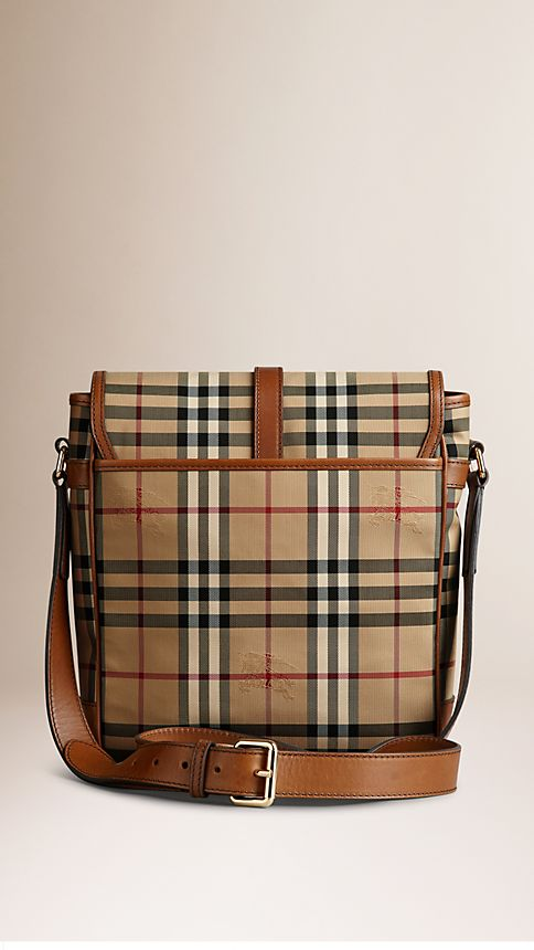 Tan Horseferry Check and Leather Crossbody Bag - Image 3