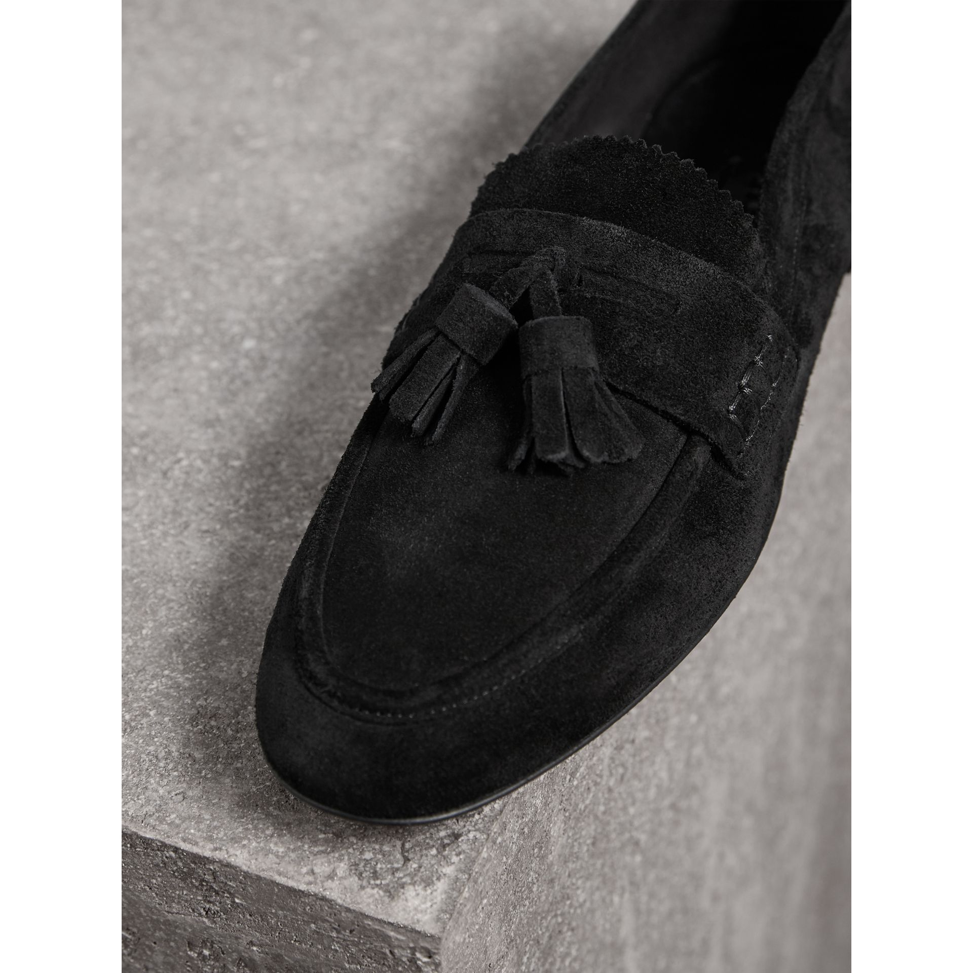 Tasselled Suede Loafers in Black - Women | Burberry United Kingdom - gallery image 1