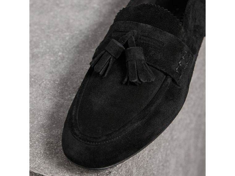 Tasselled Suede Loafers in Black - Women | Burberry United Kingdom - cell image 1
