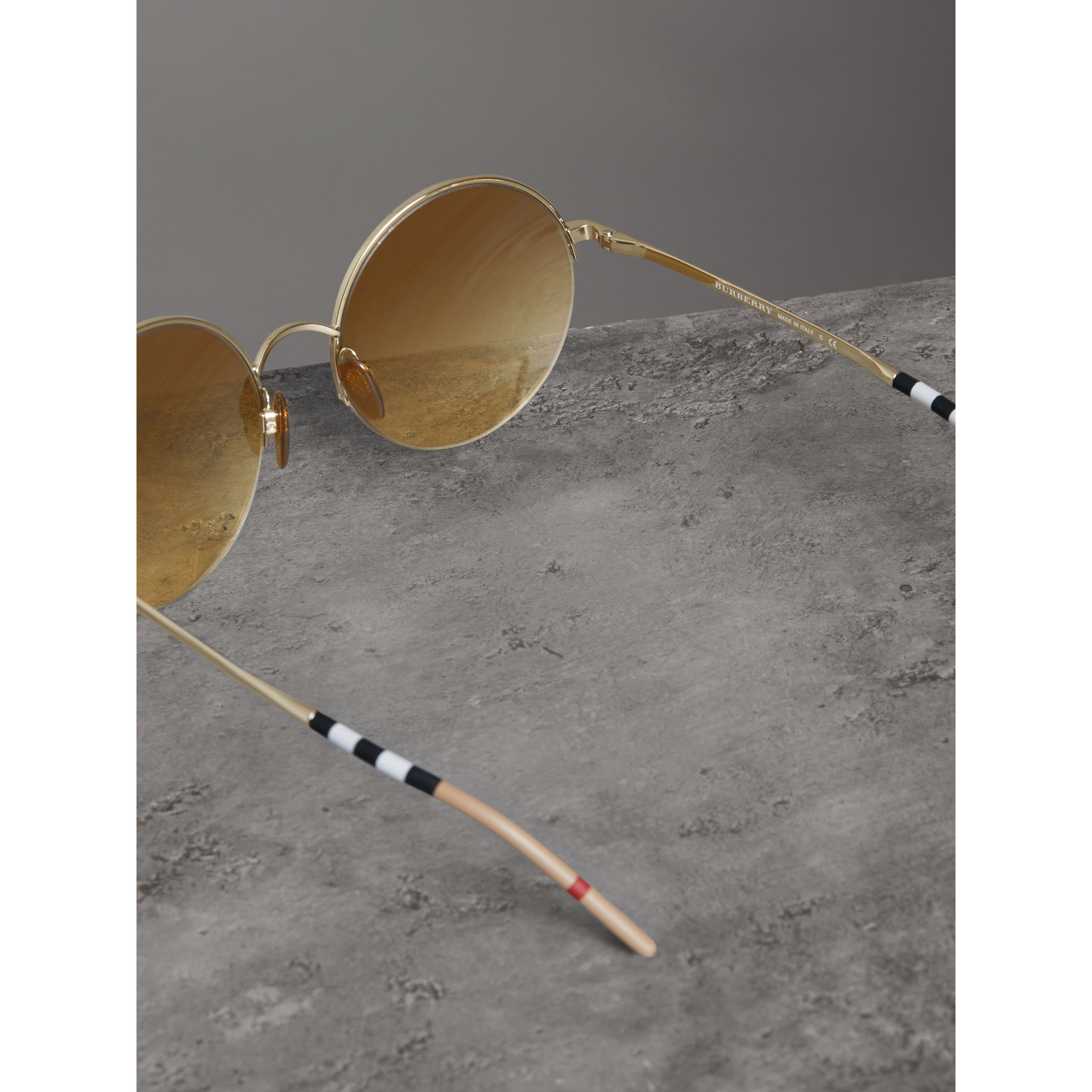Check Detail Round Frame Sunglasses in Gold - Women | Burberry - gallery image 4