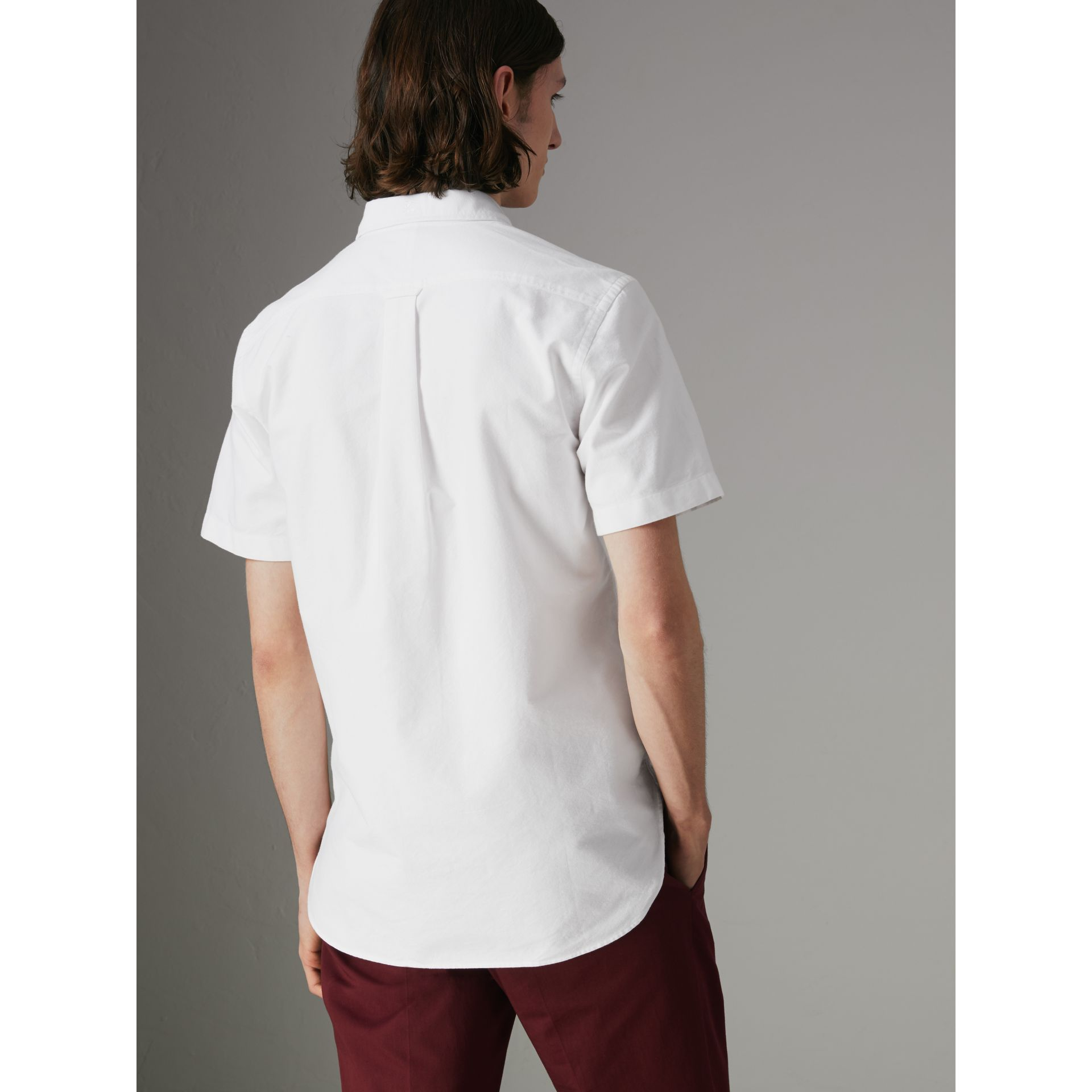 Short-sleeve Cotton Oxford Shirt in White - Men | Burberry - gallery image 2