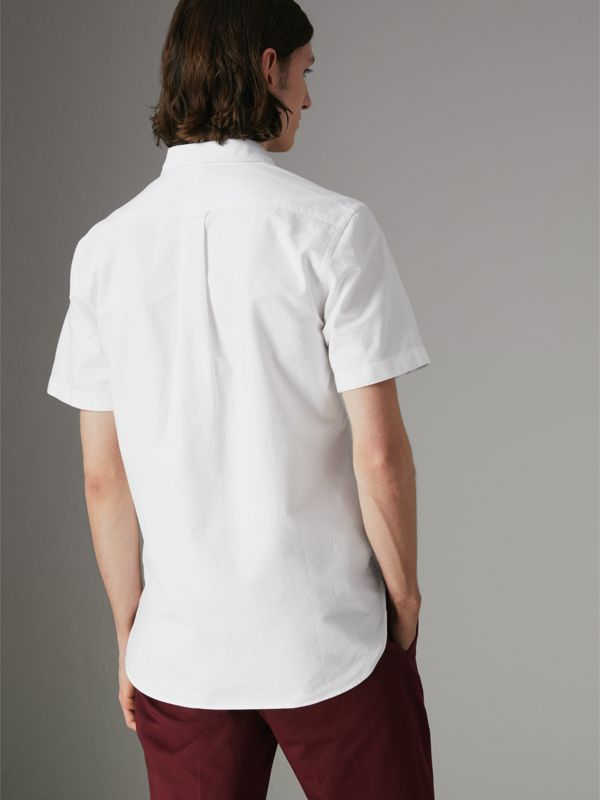 Short-sleeve Cotton Oxford Shirt in White - Men | Burberry - cell image 2