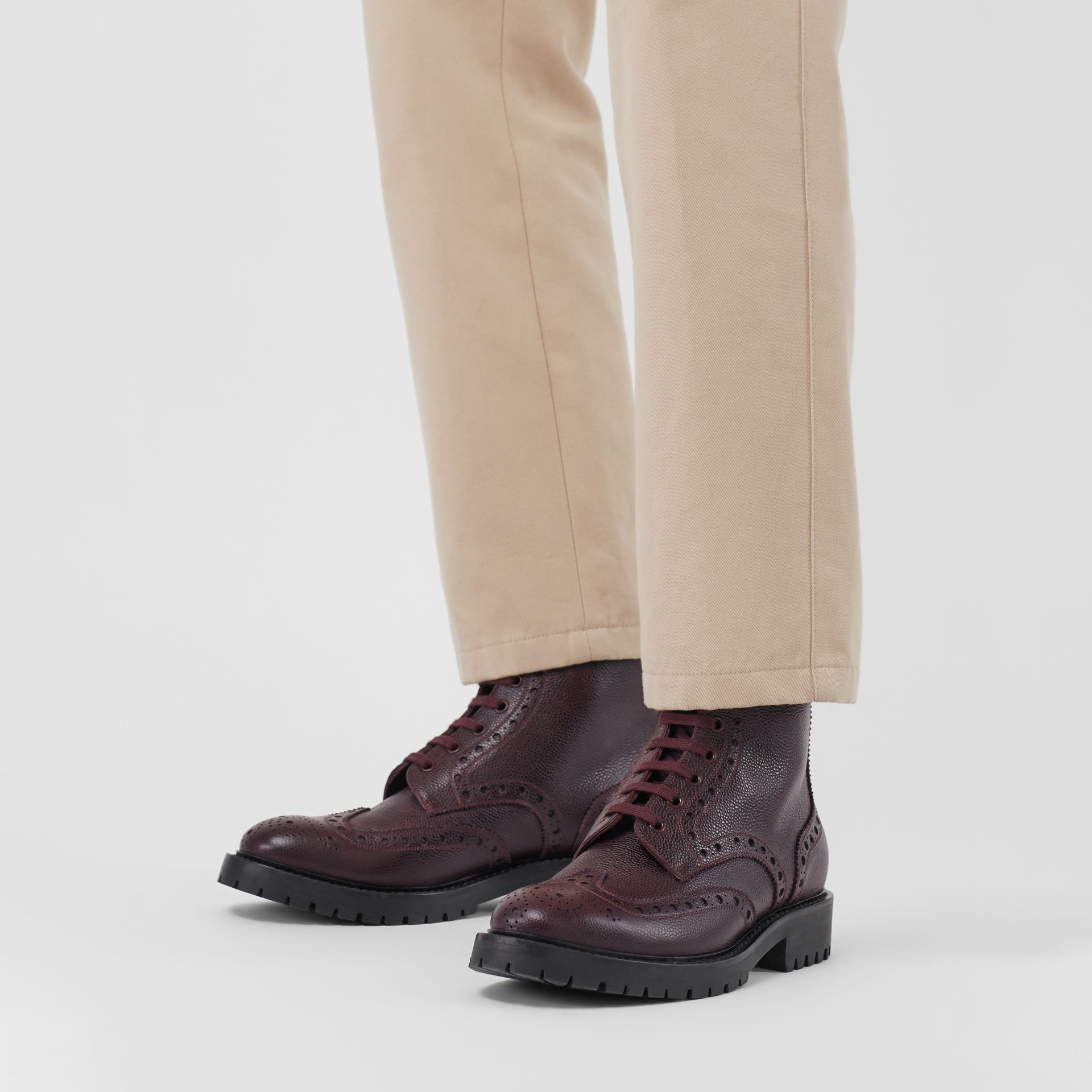 Brogue Detail Grainy Leather Boots in Bordeaux - Men | Burberry United States - gallery image 2