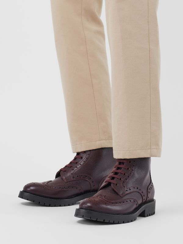 Brogue Detail Grainy Leather Boots in Bordeaux - Men | Burberry United States - cell image 2