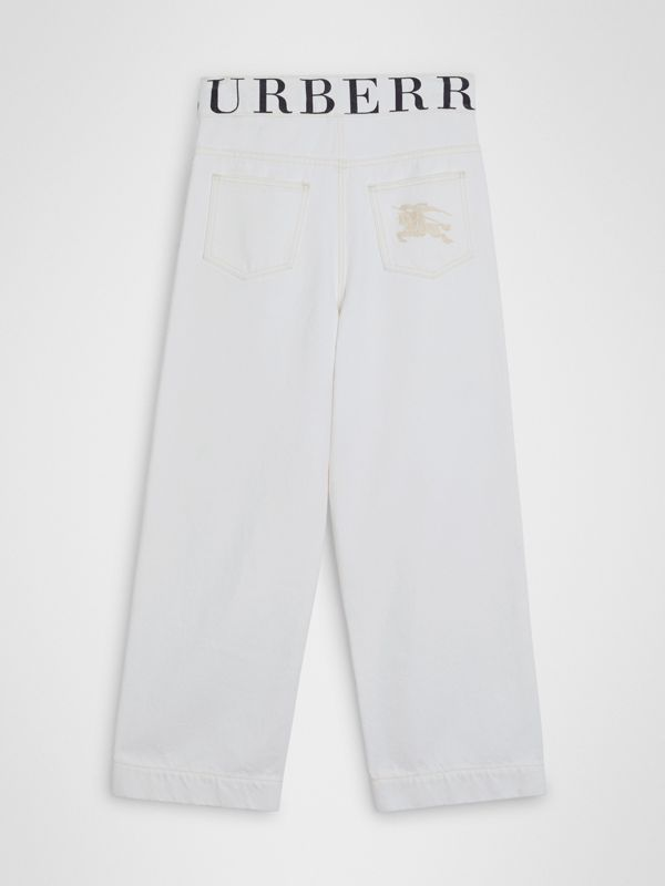 Relaxed Fit Logo Print Jeans in Natural White | Burberry - cell image 3