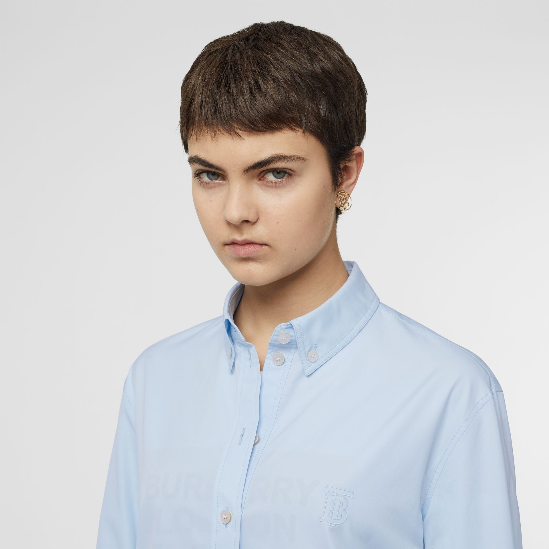 Button-down Collar Monogram Motif Cotton Shirt in Pale Blue - Women | Burberry - gallery image 1