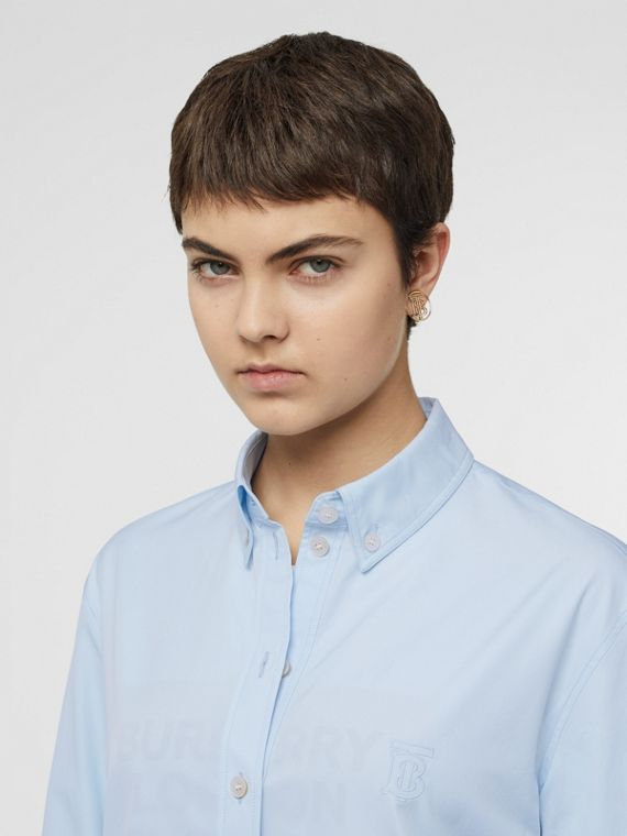 Button-down Collar Monogram Motif Cotton Shirt in Pale Blue