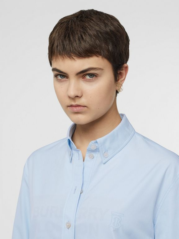 Button-down Collar Monogram Motif Cotton Shirt in Pale Blue - Women | Burberry - cell image 1