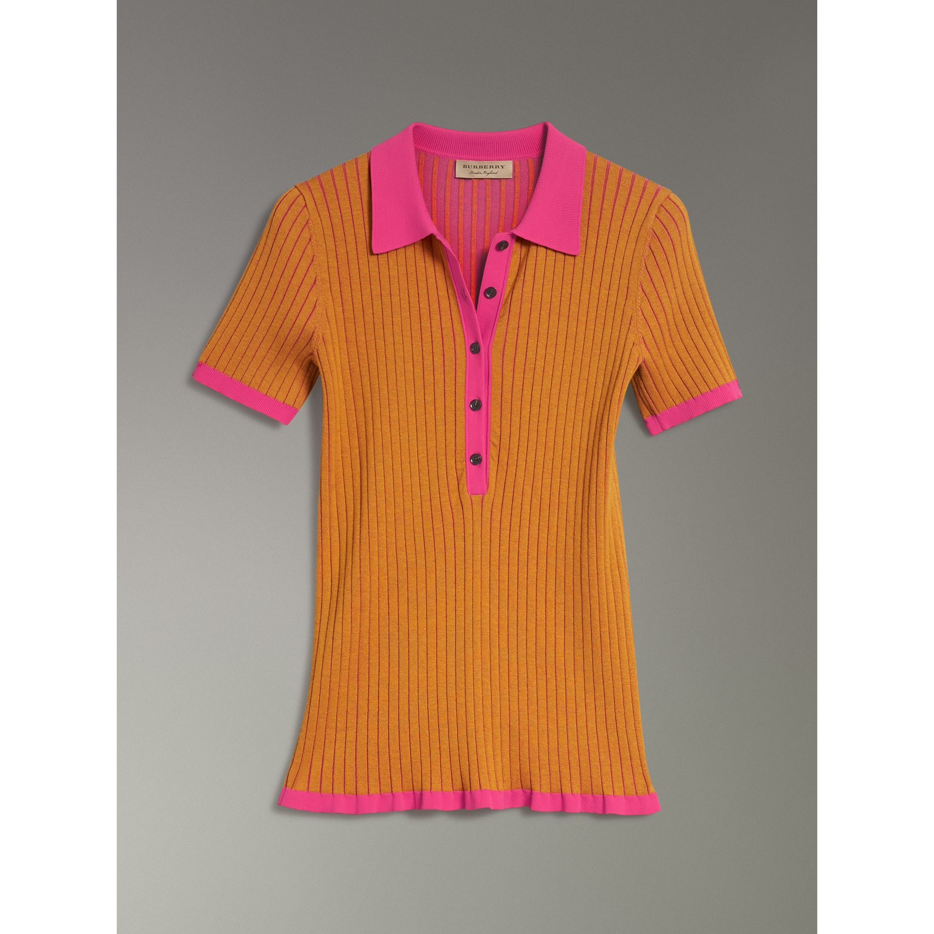 Two-tone Cashmere Silk Polo Shirt in Ochre Yellow - Women | Burberry United States - gallery image 3