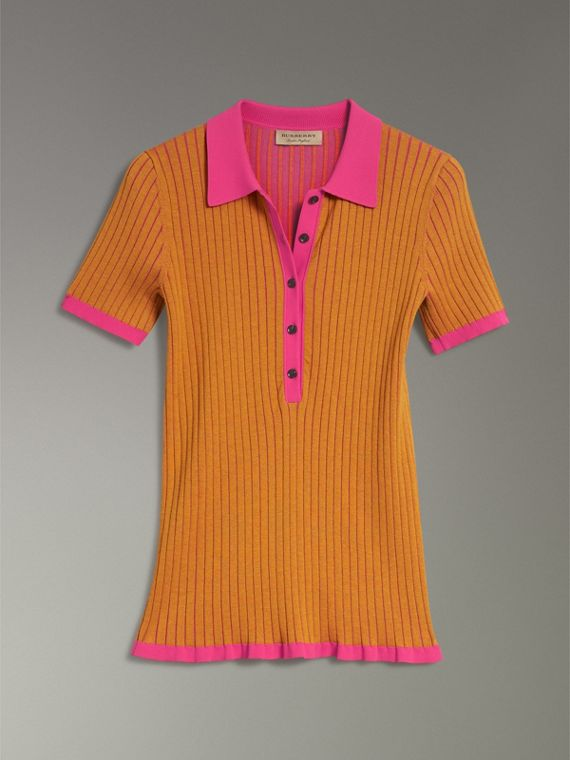 Two-tone Cashmere Silk Polo Shirt in Ochre Yellow - Women | Burberry - cell image 3