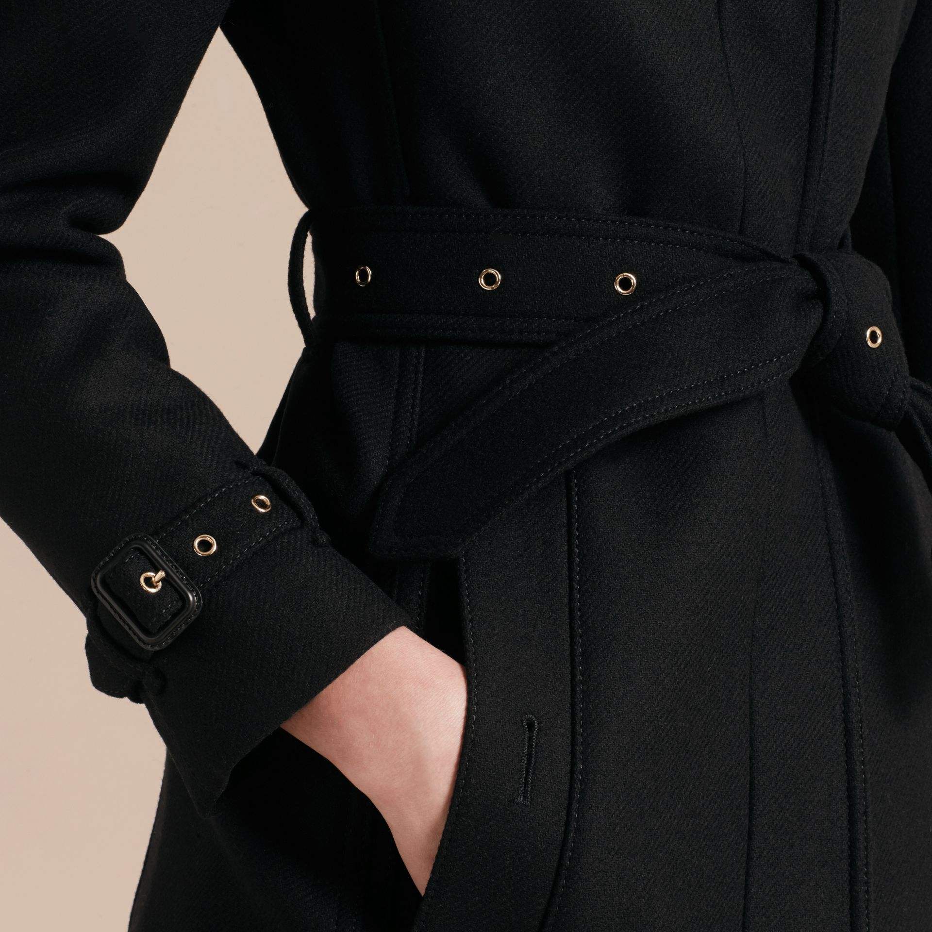 Technical Wool Cashmere Funnel Neck Coat in Black - Women | Burberry Singapore - gallery image 6