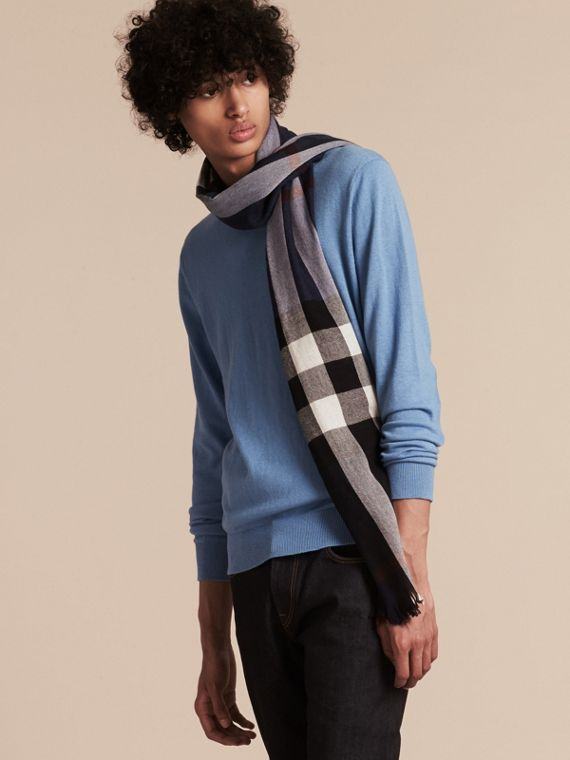 Lightweight Check Wool Cashmere Scarf in Navy - cell image 3