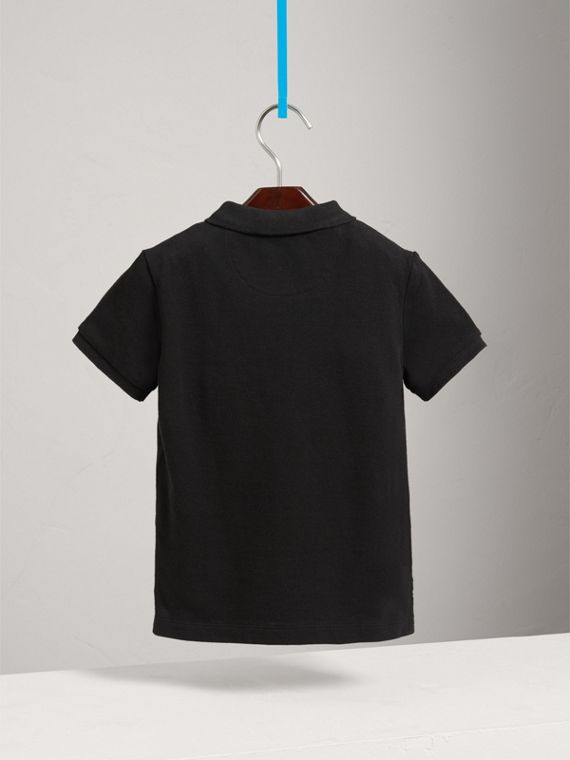 Check Placket Polo Shirt in Black - Boy | Burberry United States - cell image 3