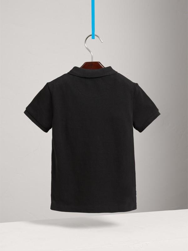 Polo con tira de botones a checks (Negro) - Niño | Burberry - cell image 3