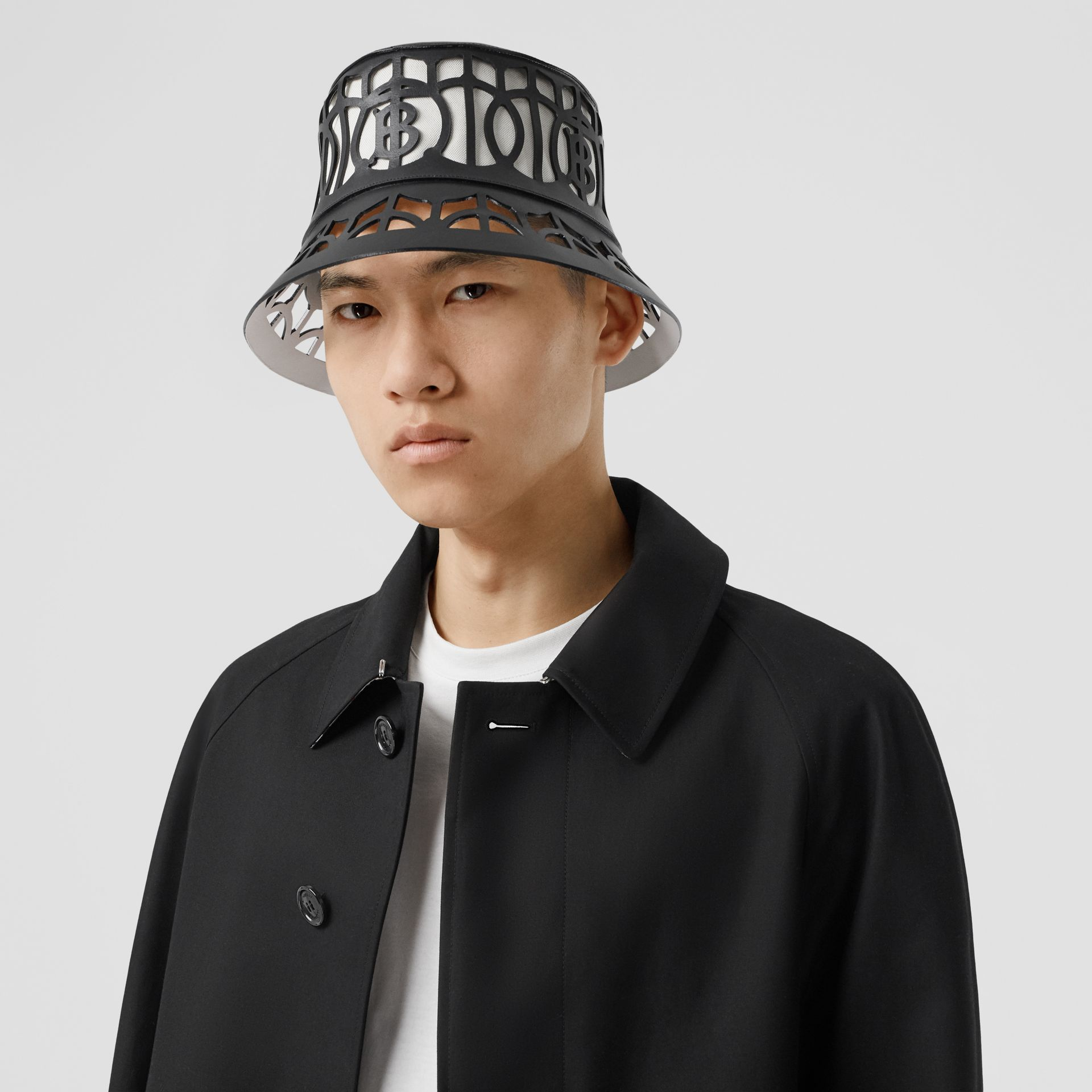 Monogram Motif Cut-out Leather Bucket Hat in Black   Burberry United Kingdom - gallery image 3