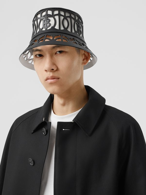 Monogram Motif Cut-out Leather Bucket Hat in Black   Burberry United Kingdom - cell image 3
