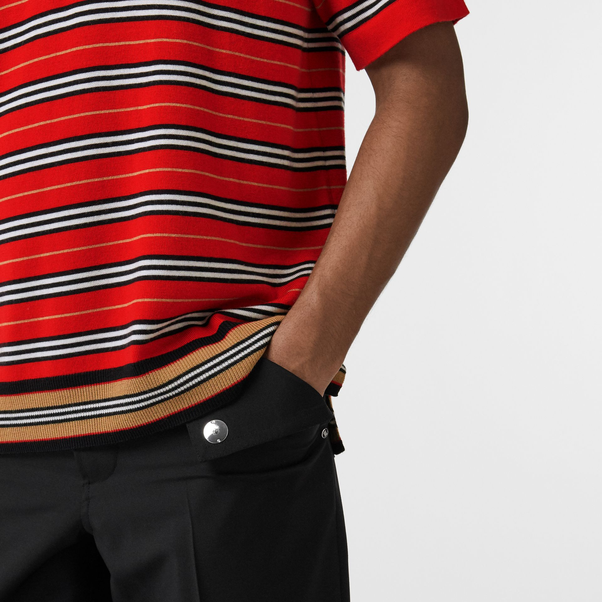 Contrast Stripe Merino Wool Polo Shirt in Bright Red - Men | Burberry Hong Kong - gallery image 3