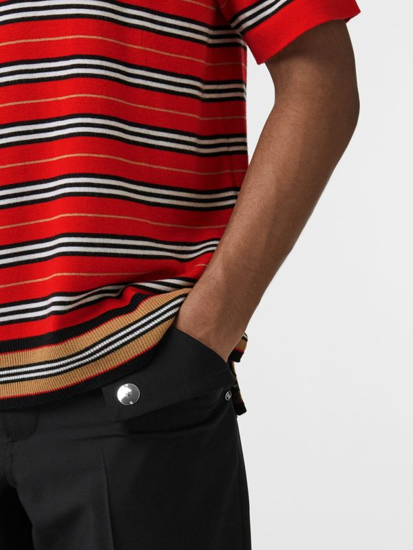 Contrast Stripe Merino Wool Polo Shirt in Bright Red - Men | Burberry United Kingdom - cell image 3