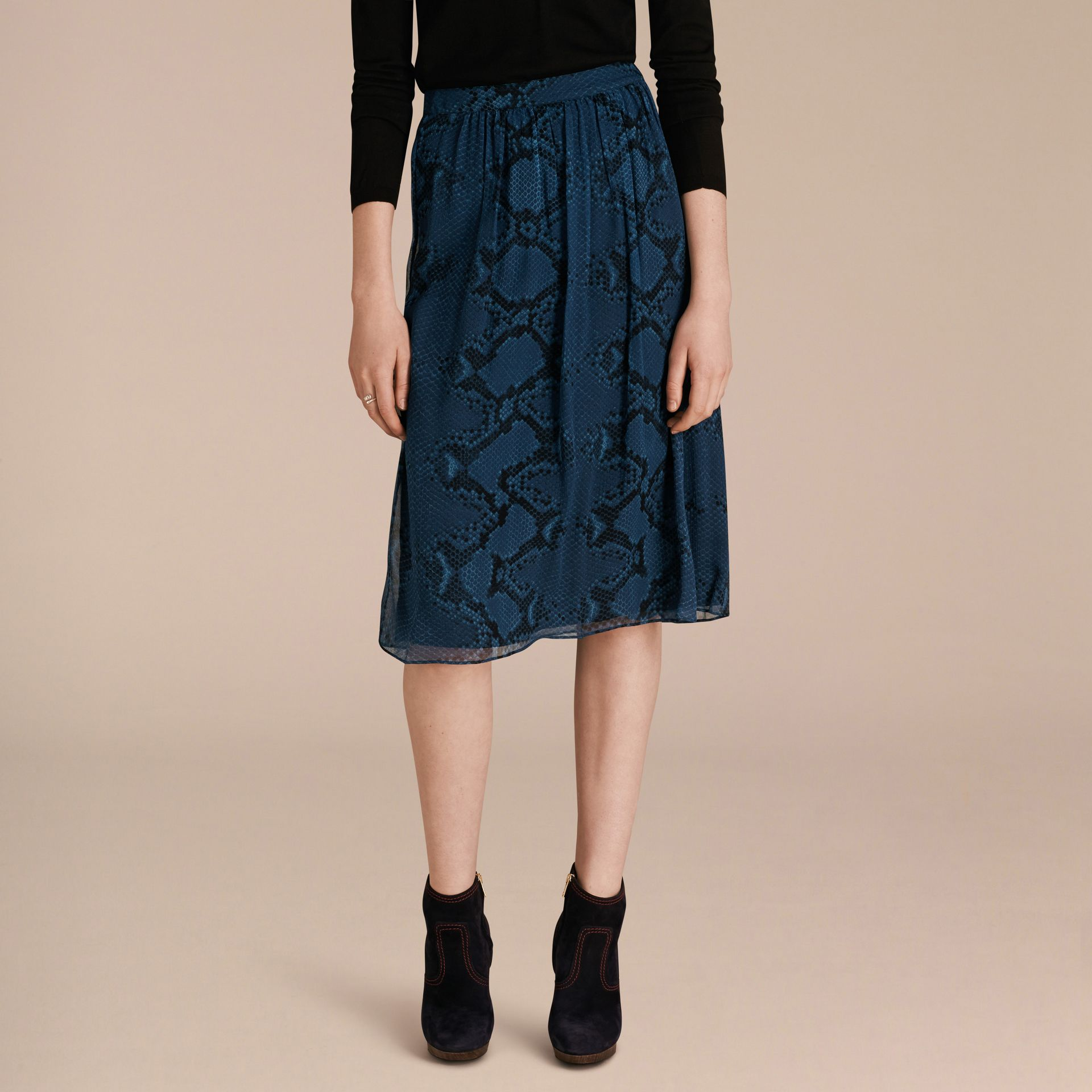 Mineral blue Python Print Silk Crepon Skirt - gallery image 6