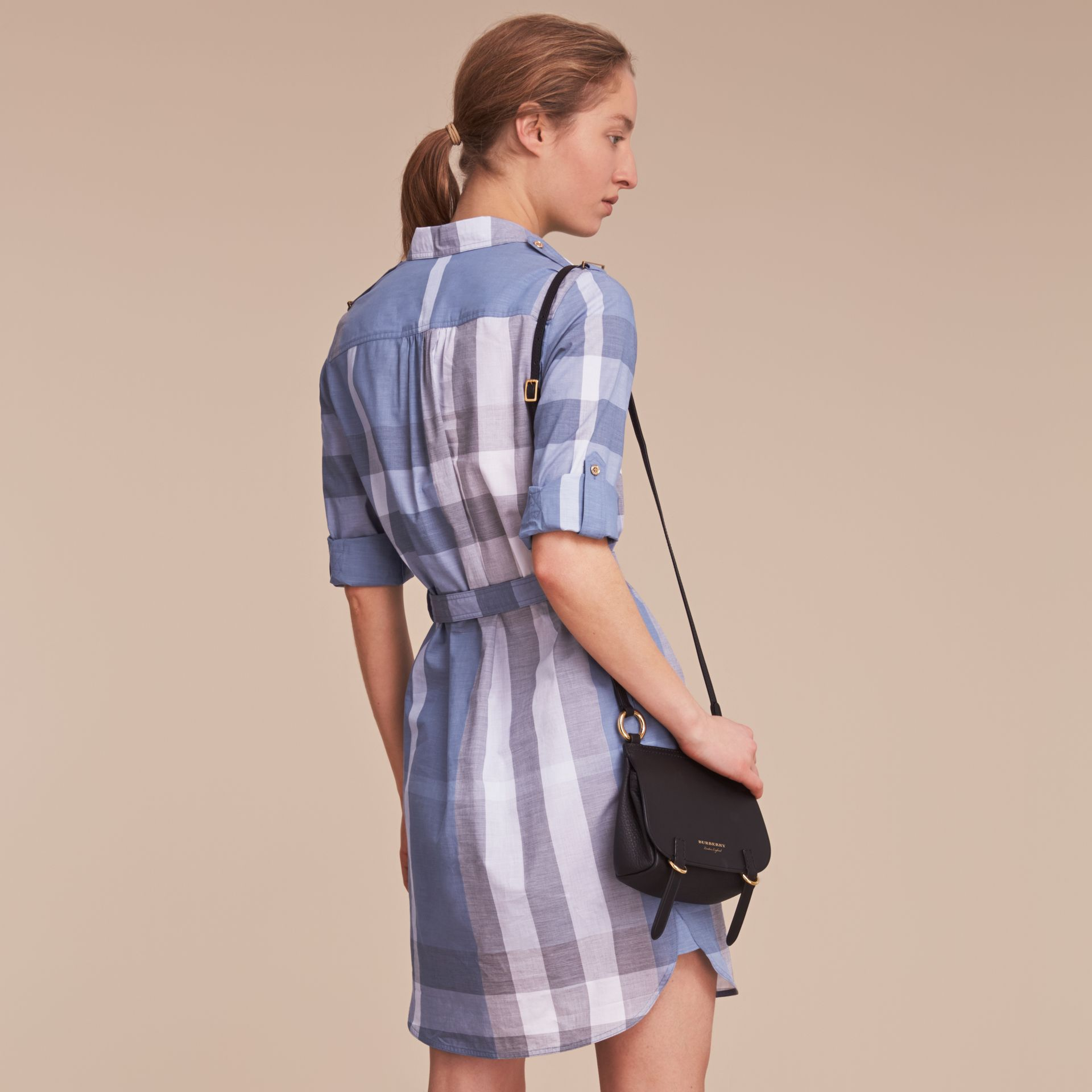 Tie-waist Check Cotton Shirt Dress - gallery image 3