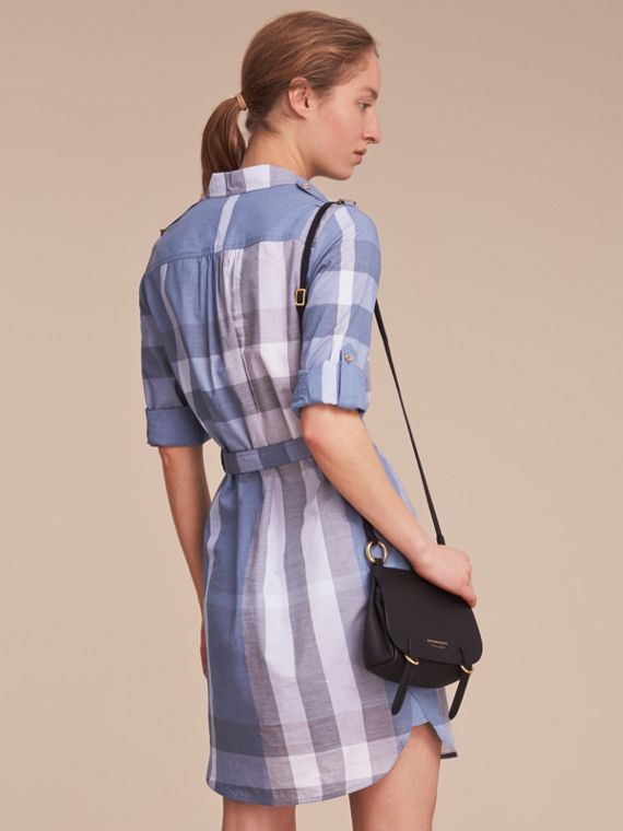 Tie-waist Check Cotton Shirt Dress - cell image 2