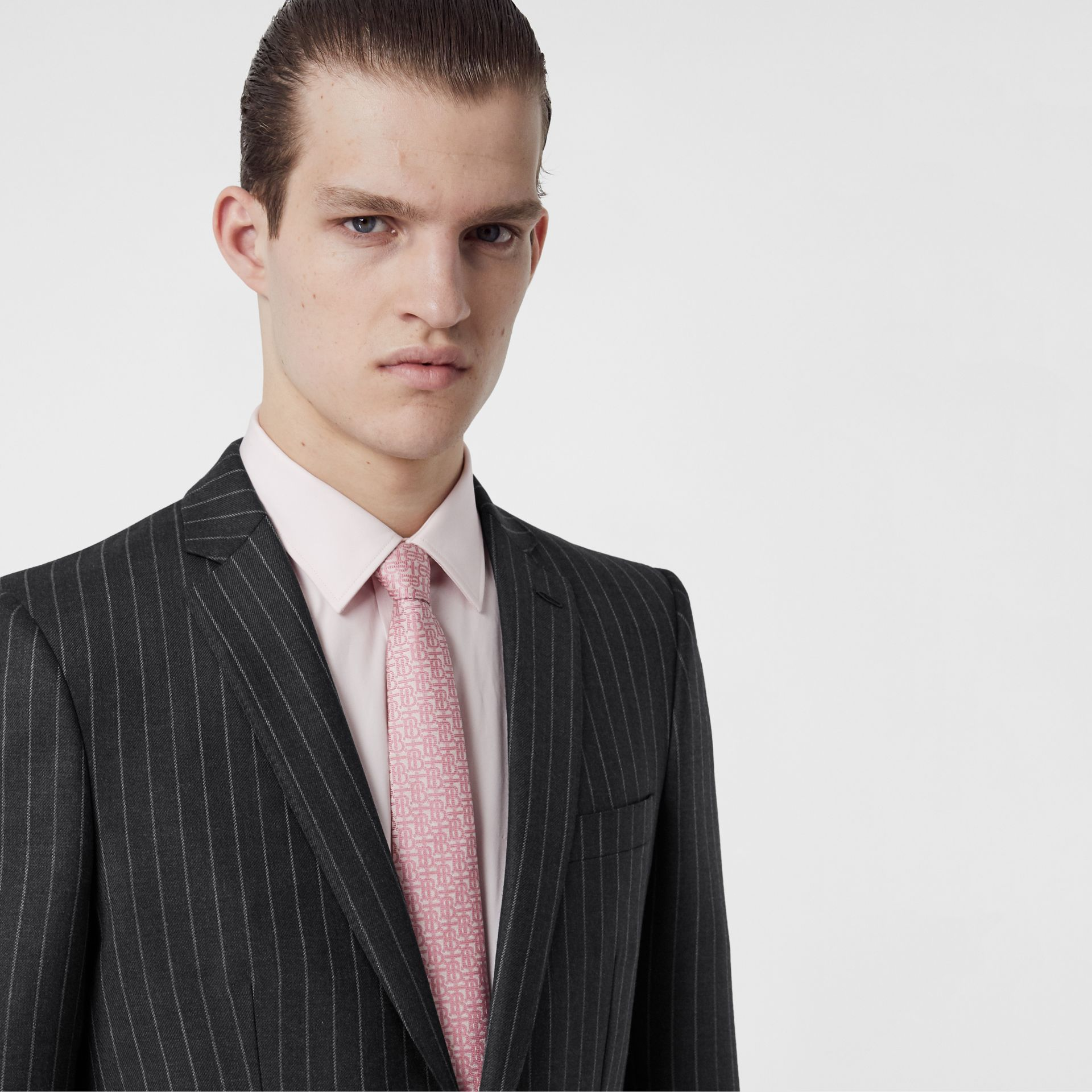 English Fit Pinstriped Wool Suit in Mid Grey Melange - Men | Burberry - gallery image 1