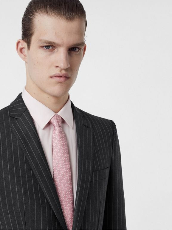 English Fit Pinstriped Wool Suit in Mid Grey Melange - Men | Burberry Australia - cell image 1