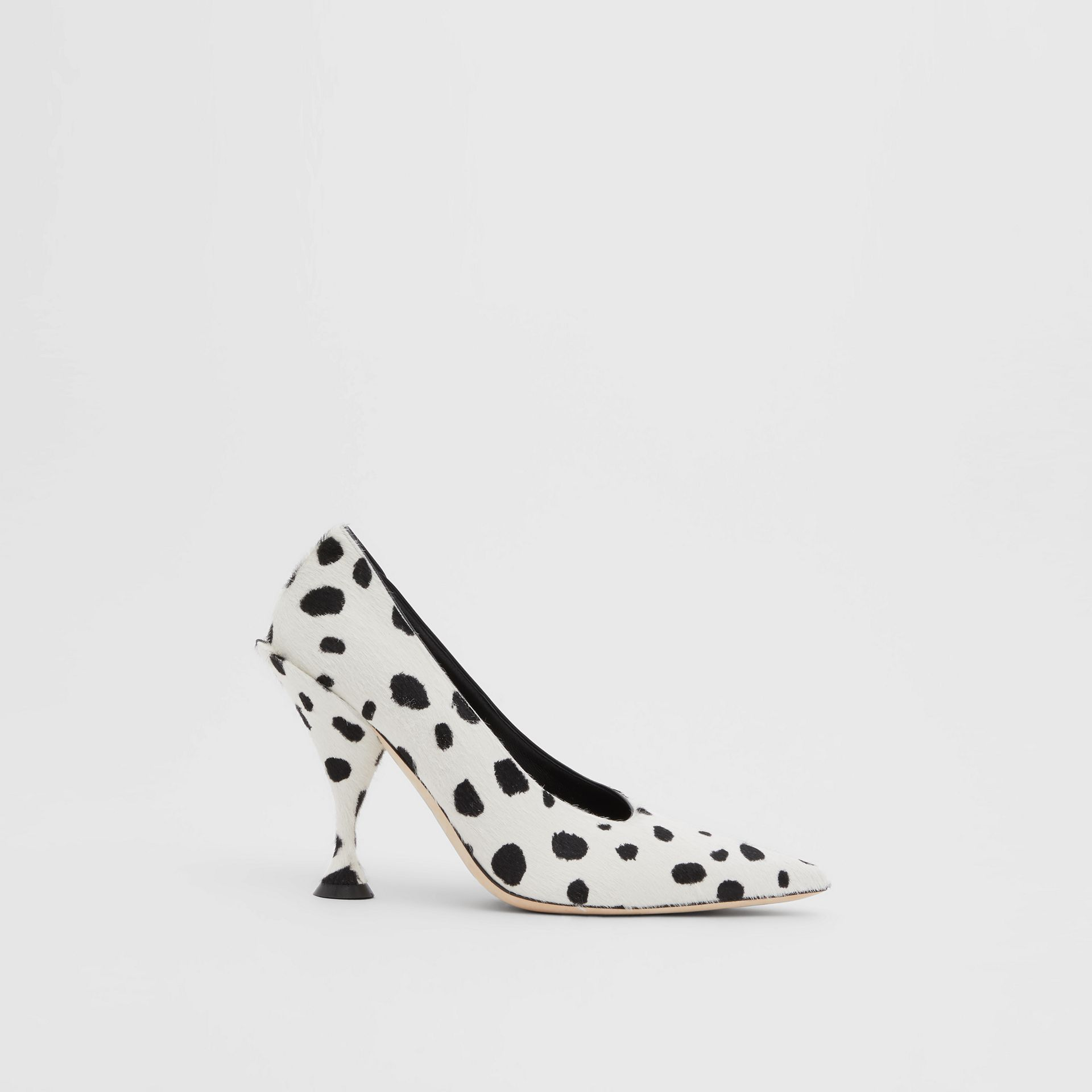 Dalmatian Print Calf Hair Pumps in Optic White/black - Women | Burberry United Kingdom - gallery image 5