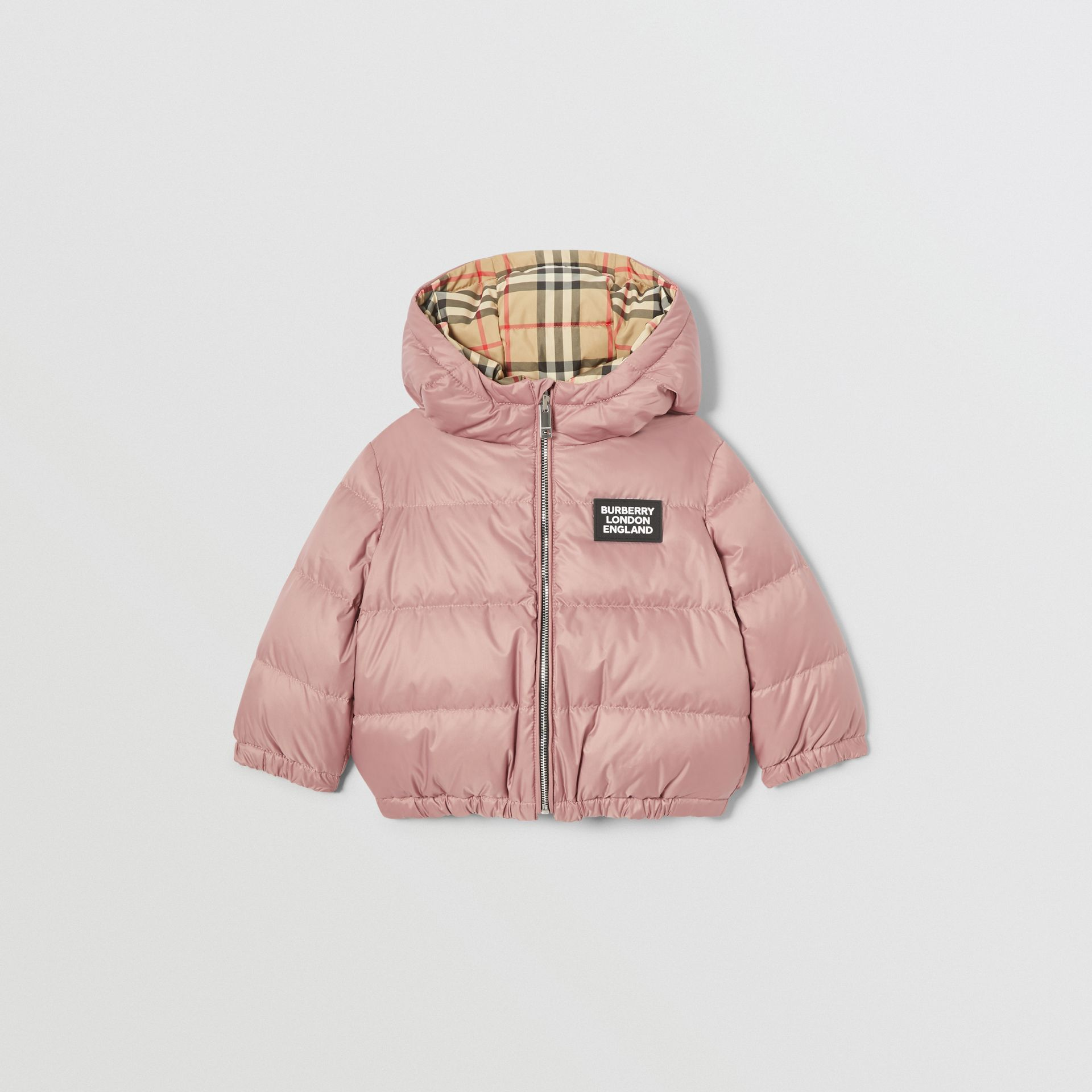 Reversible Vintage Check Down-filled Puffer Jacket in Lavender Pink - Children | Burberry United Kingdom - gallery image 0