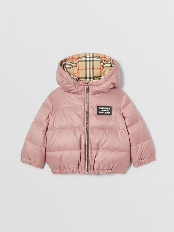 Reversible Vintage Check Down-filled Puffer Jacket in Lavender Pink