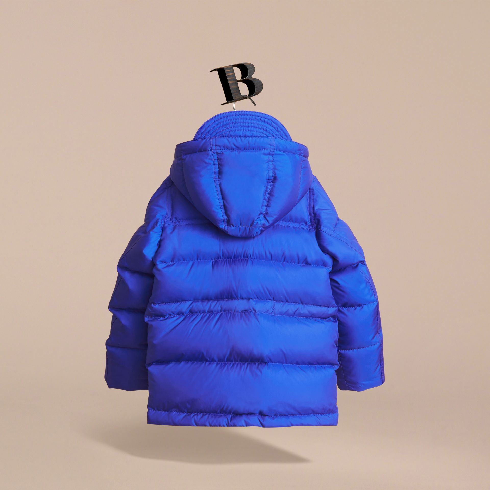 Down-filled Hooded Puffer Jacket in Brilliant Blue - Boy | Burberry United Kingdom - gallery image 3
