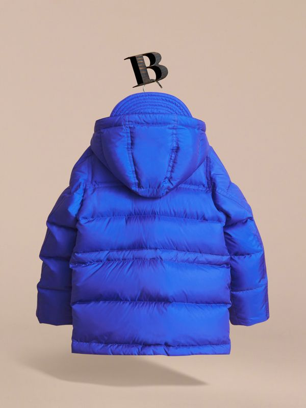 Down-filled Hooded Puffer Jacket in Brilliant Blue - Boy | Burberry - cell image 3