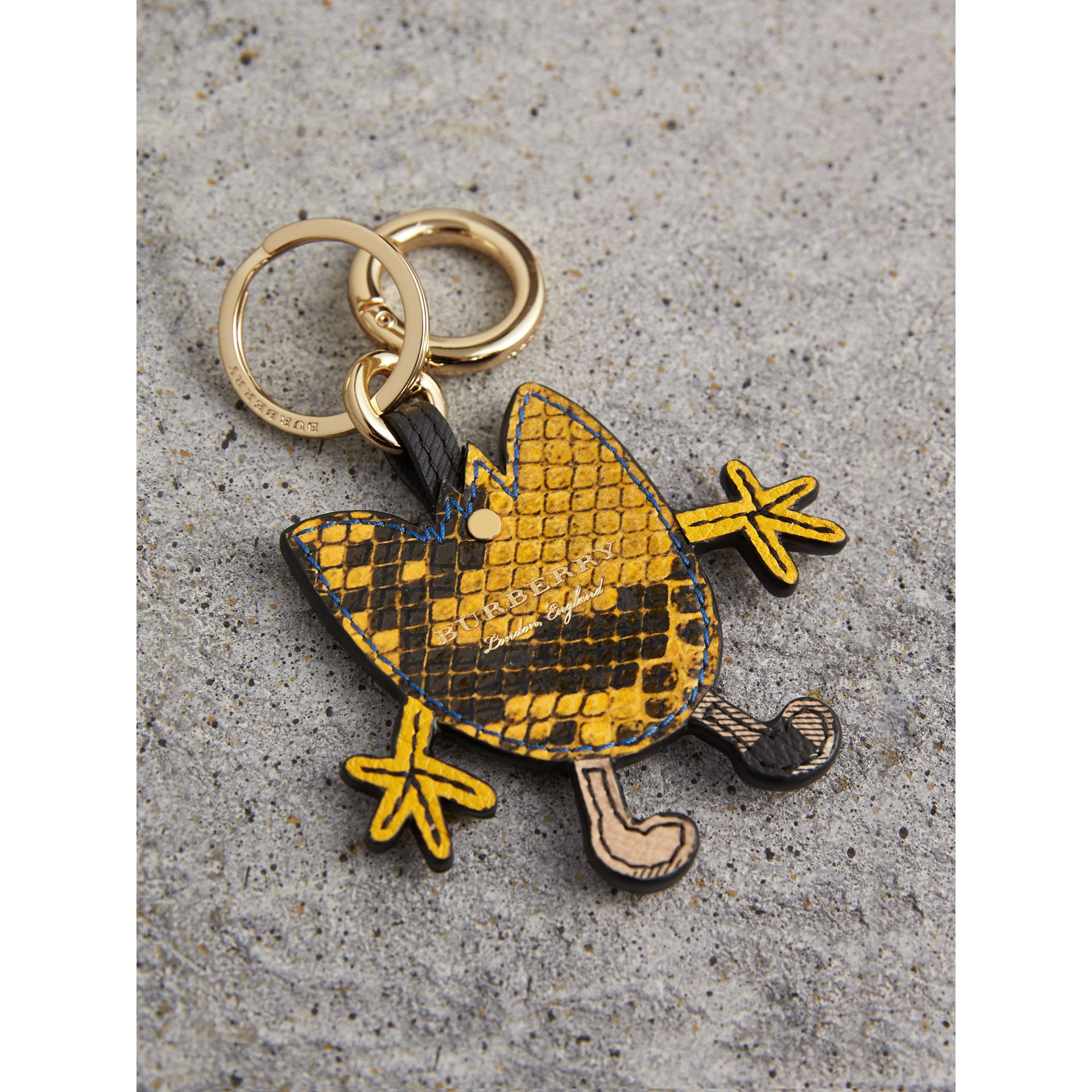 Creature Motif Python Print Key Ring in Bright Toffee | Burberry - gallery image 2